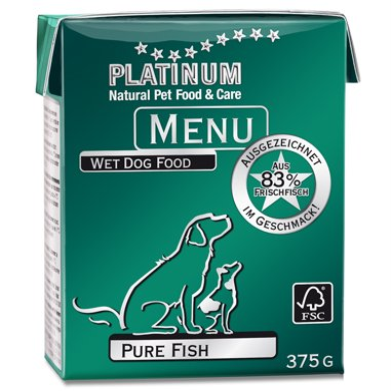 【アレルギー犬にお薦め】プラチナム MENU ウェットフード:ピュアフィッシュ(375g テトラパック)