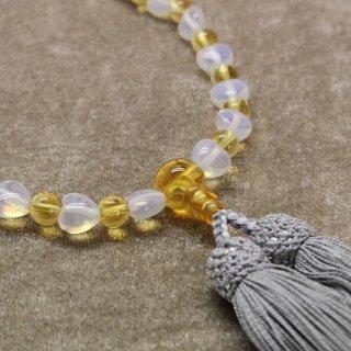 玻璃オパールハート 黄水晶 正絹松風頭房