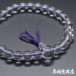 腕輪念珠 本水晶 ゴム紐房 紫