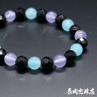ブレス念珠 黒オニキス切子 ジェード(薄紫・水色)