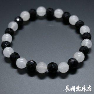 ブレス念珠 黒オニキス切子 カルサイト(白)