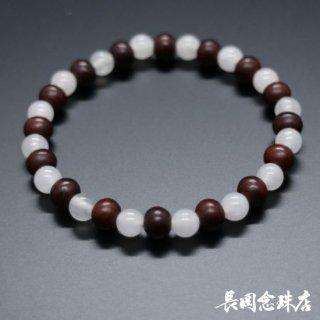 ブレス念珠 紫檀 カルサイト(白)