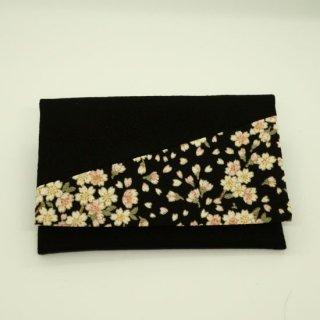 念珠袋 黒 さくら 1
