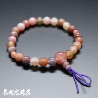 腕輪念珠 ピンクインドメノウ ゴム紐房 紫