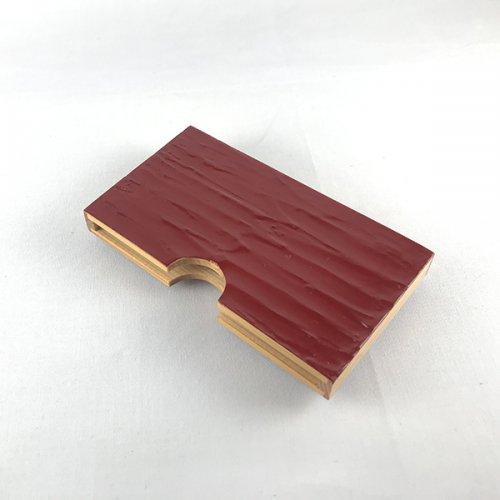 木製名刺ケース 漆塗り(模様A:赤)