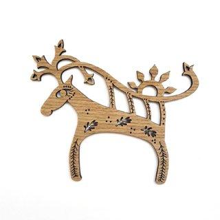 or091 リトアニア EtnoDesign 木製オーナメント 鹿のレリオ リトアニア民謡から シカ