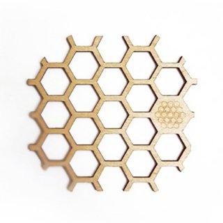 co026 リトアニア木製コースター小「ハニカム」 蜂の巣 はちみつ ハチミツ