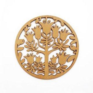 co048 リトアニア木製コースター小「ヨーロッパのかわいい庭園をイメージさせることりとお花」