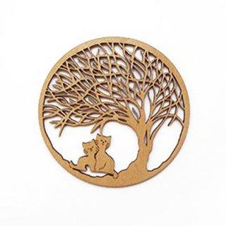 co049 リトアニア木製コースター小「寄り添う親子ネコ」