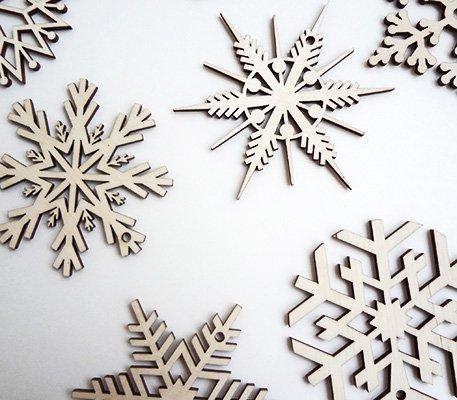 リトアニア木製オーナメントセット 雪の結晶 スノーフレーク