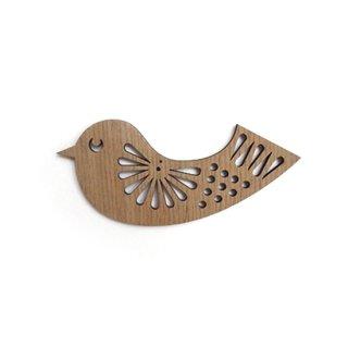 or014 リトアニア EtnoDesignエトノデザイン 木製オーナメント 陽気なセキレイ鳥