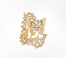 co053 リトアニア木製コースター小「造形の美しいチョウチョ柄A」