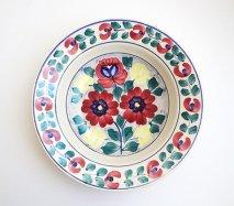 wl026 ポーランドのヴウォツワヴェク陶器 ヴィンテージ陶器 大きな深皿25cm  飾り皿
