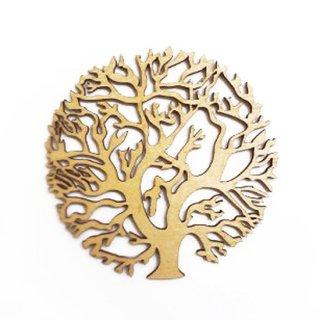 co069 リトアニア木製コースター小「円形の大きな木」