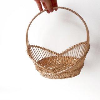 bs011 リトアニアのかご 透かし編みが美しい手編みかご 立ち上がりの透かしが美しい果物かご