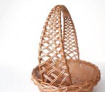 bs012 リトアニアのかご 透かし編みが美しい手編みかご 持ち手の透かしが美しい果物かご