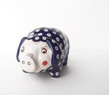 ポーランド陶器 ポーリッシュ ぶたの貯金箱 ピーコックアイ