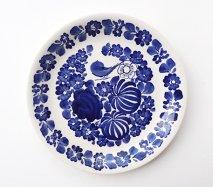 wl098 ポーランドのヴウォツワヴェク陶器 ヴィンテージ陶器 平皿24cm ふちにもお花がいっぱい!お花と鳥の飾り皿