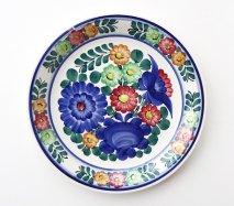 wl100 ポーランドのヴウォツワヴェク陶器 ヴィンテージ陶器 平皿24cm カラフルなお花が描かれた飾り皿