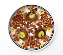 wl101 ポーランドのヴウォツワヴェク陶器 ヴィンテージ陶器 平皿24cm こげ茶にビビッドイエローが印象的な飾り皿