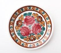 wl103 ポーランドのヴウォツワヴェク陶器 ヴィンテージ陶器 平皿24cm ブラウン系の中にピンクのお花の飾り皿