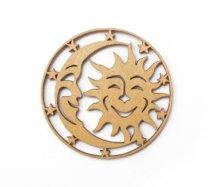 co083 リトアニア木製コースター小「月と太陽とお星さま」