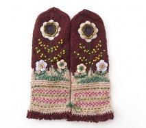 mt109 リトアニア 花刺繍の手編みミトン 幅10.5cm×長さ31cm ブラウン&ベージュベース