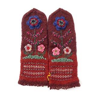mt084 リトアニア 花刺繍の手編みミトン 幅10cm×長さ31cm ブラウン&赤茶色ベース