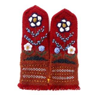 mt100 リトアニア 花刺繍の手編みミトン 幅10cm×長さ33cm エンジ&キャラメル色ベース