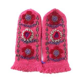 mt161 リトアニア 花刺繍の手編みミトン 幅9.5cm×長さ24cm コーラルピンクベース 赤とグレーのお花