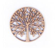 co084 リトアニア木製コースター小「枝を広げる木」