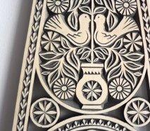 ve017 リトアニア 伝統工芸の壁飾り Verpste ベルプステ 黒ベース 中 55cm