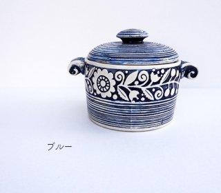 ウクライナ 刺繍のような凹凸柄が素敵な陶器 円柱形の壺 400ml