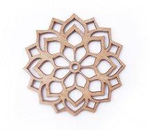 co097 リトアニア木製コースター「ダリアみたいな尖った花びらのお花柄」