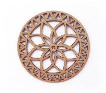 co103 リトアニア木製コースター「幾何学模様みたいなお花柄」