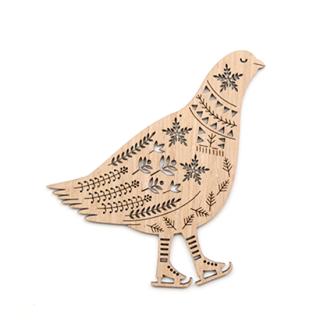 or341 リトアニア EtnoDesignエトノデザイン 木製オーナメント スケート靴を履いた鳥
