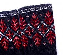 rie102 リトアニア ビーズ編みのリストウォーマー RIESINES 黒地に赤い結晶のような柄