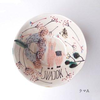 sc009 リトアニア 手びねりの形とラフな手書きイラスト 味のある陶器 ボウル小 13cm