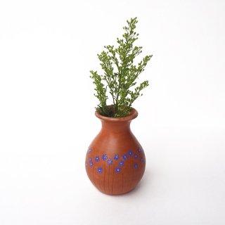 リトアニア Reginaさんの黒陶器 ブラックセラミック リネンの花が描かれたテラコッタ色の小さな花瓶