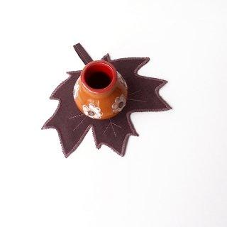 リトアニアリネン 葉っぱの形のコースター