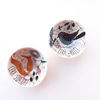 sc017 リトアニア 手びねりの形とラフな手書きイラスト 味のある陶器 お茶碗 ボウル