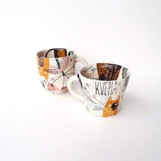 sc018 リトアニア 手びねりの形とラフな手書きイラスト 味のある陶器 大きなマグカップ