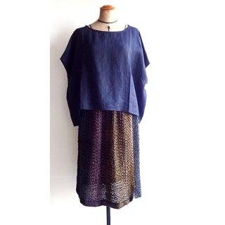ny669 リトアニア 手織りリネンのスカート 透け感のあるダークカラーのグラデーション