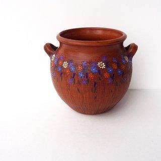 リトアニア Reginaさんの黒陶器 ブラックセラミック ぽってりとした花瓶にびっしり描かれた細かな花々