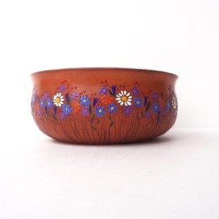 リトアニア Reginaさんの黒陶器 ブラックセラミック 平たい小鉢にびっしり描かれた花々
