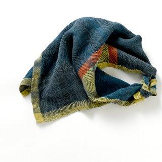 ny117 リトアニアの手織りリネンスカーフ 青緑とマスタードカラーにとオレンジライン