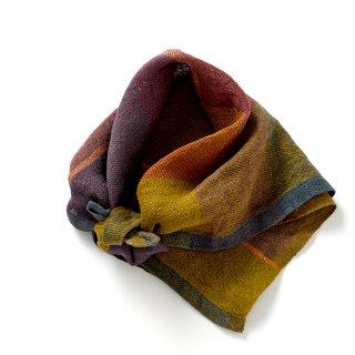 ny119 リトアニアの手織りリネンスカーフ カーキや紫の渋い色合い