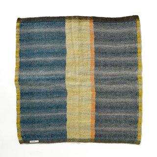 ny110 リトアニアの手織りリネンスカーフ エメラルドグリーンとマスタードのシックな色合い