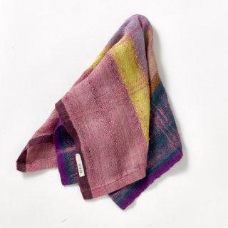 ny120 リトアニアの手織りリネンスカーフ しっとりピンクにイエローやブルーの色合い