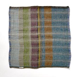 ny107 リトアニアの手織りリネンスカーフ 青緑に茶系、若草色などのストライプ